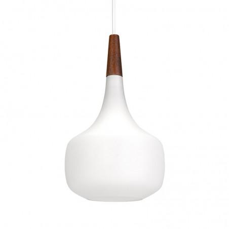 Deense vintage opaline glazen hanglamp van Holmegaard