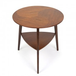 Round vintage Danish side table with teak inlaid top