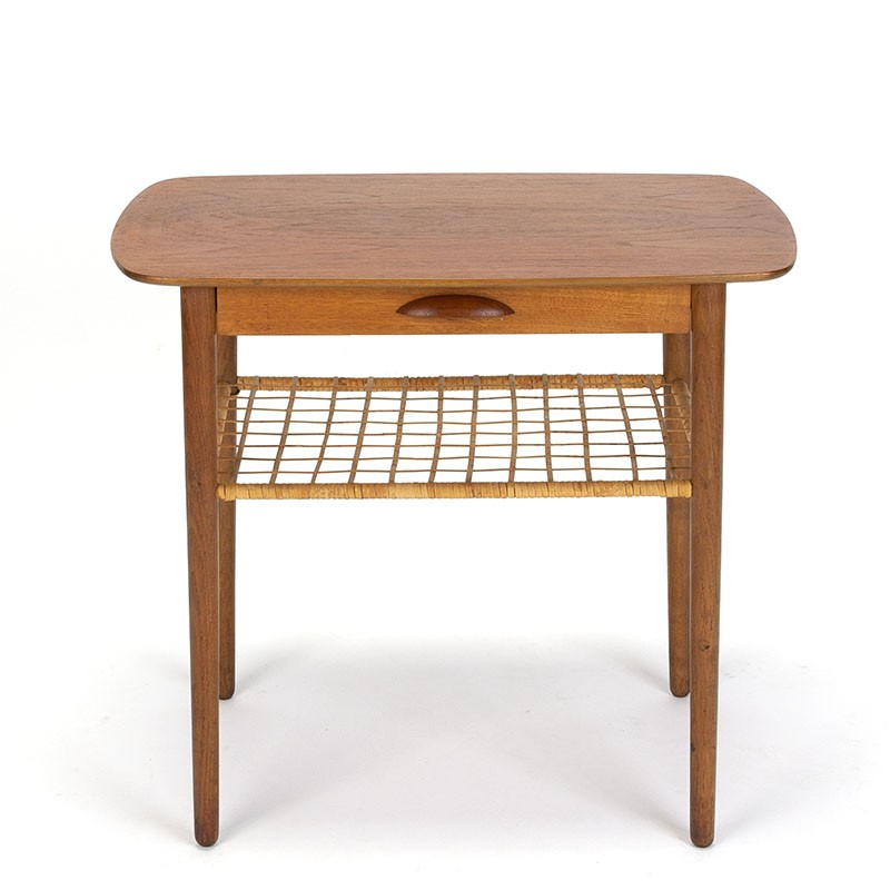 Danish vintage side table with drawer in teak, oak and cane