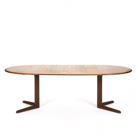 Round extendable vintage teak Danish dining table