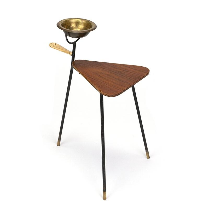 Teak Danish plant table with brass ashtray