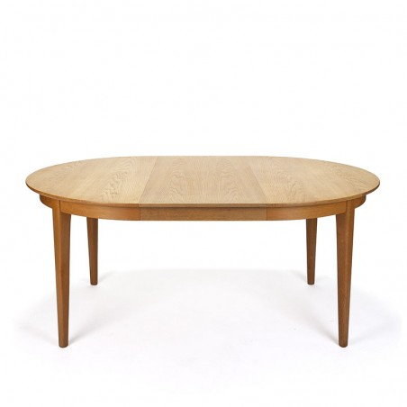 Danish vintage oak round extendable dining table with 3