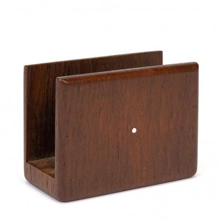 Kleine vintage Deense briefhouder in teak
