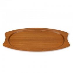 Large Danish vintage tray with organic teak shape