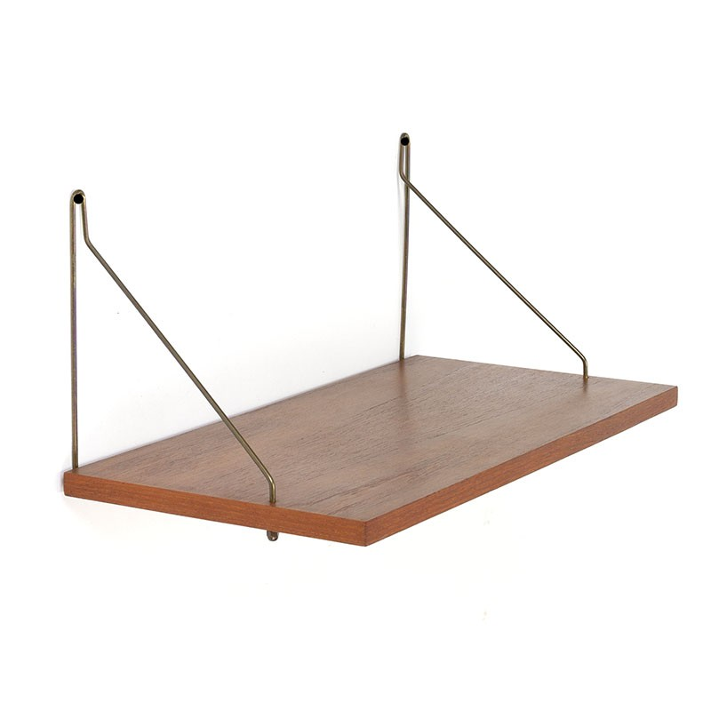 Teakhouten Deense vintage wandplank