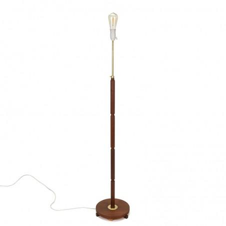 Teak Danish vintage floor lamp with brass detail