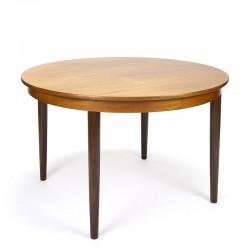 Round model teak vintage extendable dining table