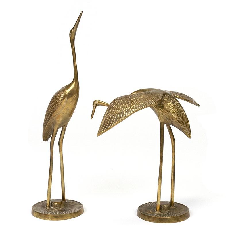 Set van 2 vintage messing kraanvogels