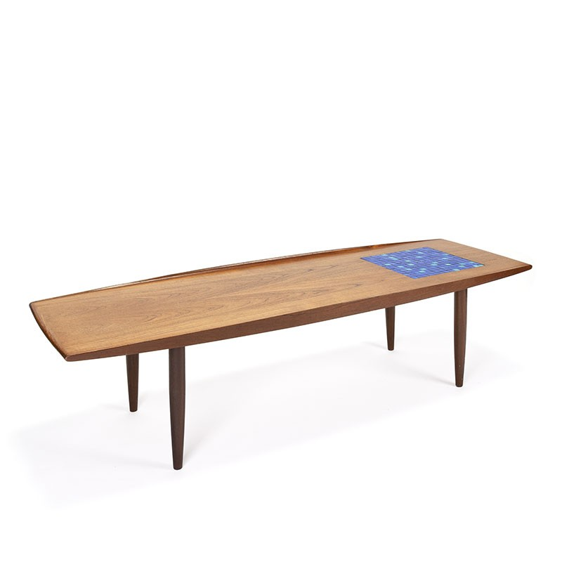 Danish vintage coffee table with surface with blue mosaic tiles