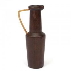Teakhouten vintage vaas met rotan greep