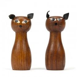 Deens vintage peper en zoutstel vormgegeven als katjes