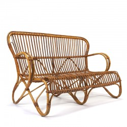 Rattan vintage 2-seater sofa from Rohé Noordwolde