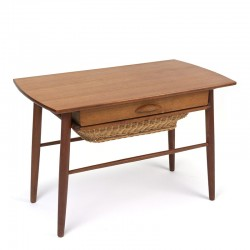 Vintage Danish side table with drawer and wicker basket