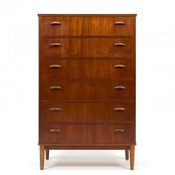 Vintage teak Danish tallboy chest of drawers from the fifties