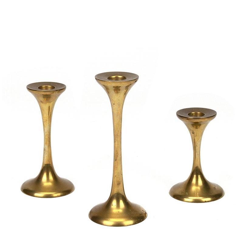 Vintage brass candlesticks set of 3