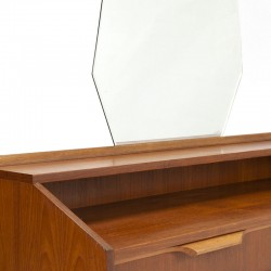 Vintage teakhouten kaptafel met grote spiegel