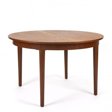 Danish vintage round extendable teak dining table