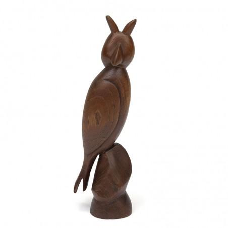 Vintage sculpture of an owl in teak