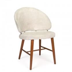 Vintage Deense stoel met pluche bekleding