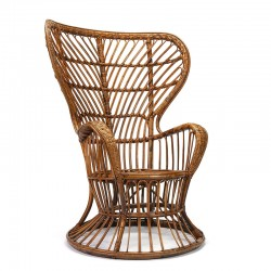 Vintage Italiaanse rotan fauteuil design Gio Ponti