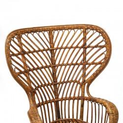 Vintage Italian rattan armchair design Gio Ponti