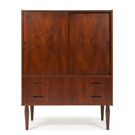 Danish vintage teak cabinet with sliding doors and drawers