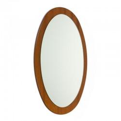 Vintage ovaal model teakhouten spiegel
