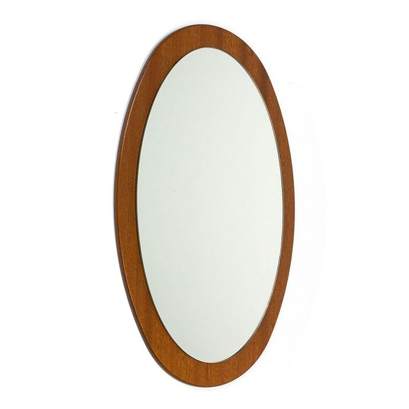Vintage oval model teak mirror