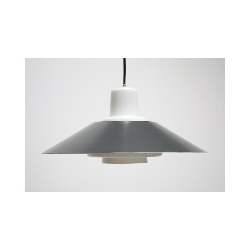 Glazen hanglamp met grijse kap