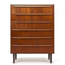 Danish vintage chest of drawers with long handle in teak