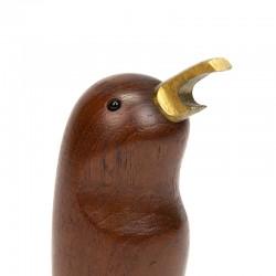 Teak vintage bird bottle opener