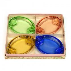Set van 4 vintage glazen asbakjes in doosje
