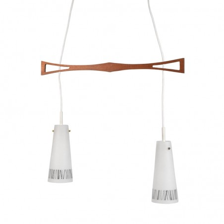 Vintage hanging lamp with glass chalices and teak part