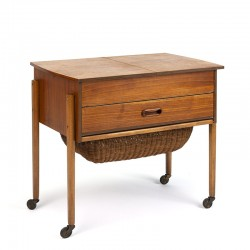 Teak Danish vintage sewing kit table on wheels