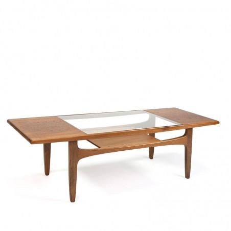 Vintage langwerpige teakhouten salontafel met glazen middenstuk