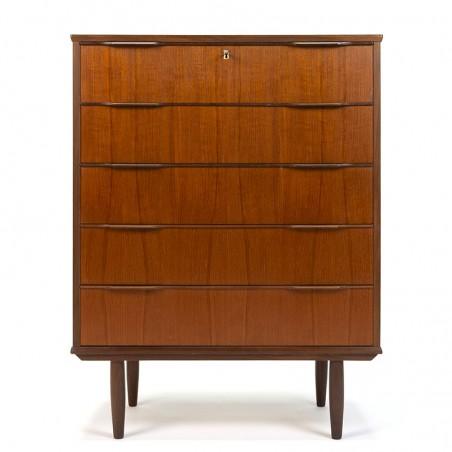 Dresser in teak with 5 drawers Danish vintage design