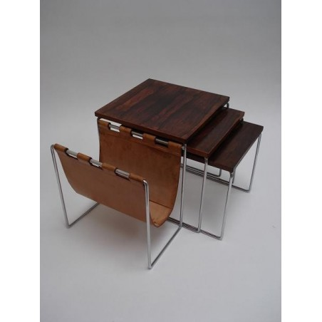 Set of 3 nesttables with leather magazinerack