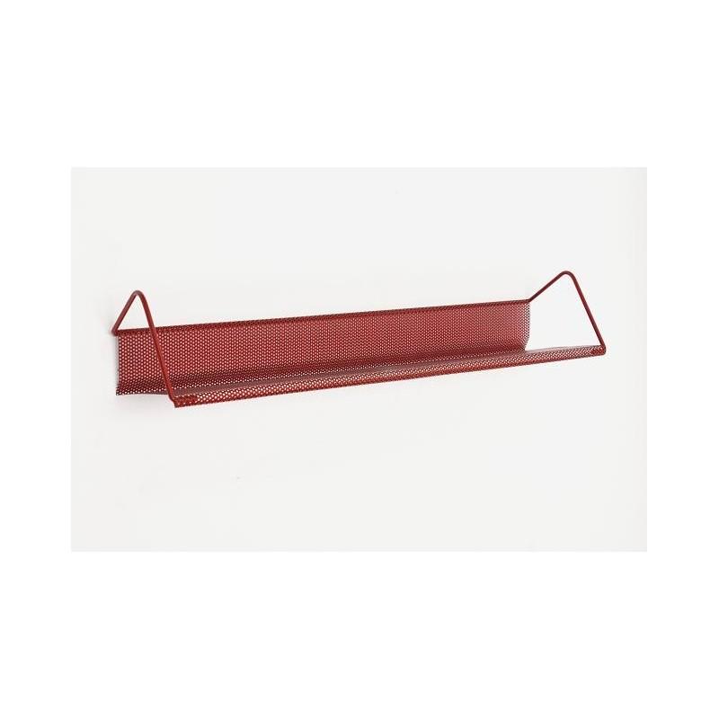 Rood geperforeerd metalen boekenplank