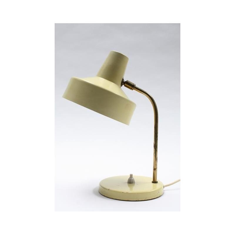 Geel/koperen tafellamp 1960's