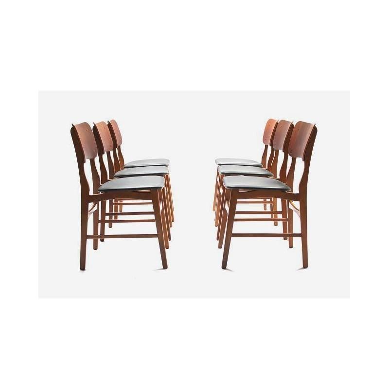 Set of 6 Danish dinner chairs in teak