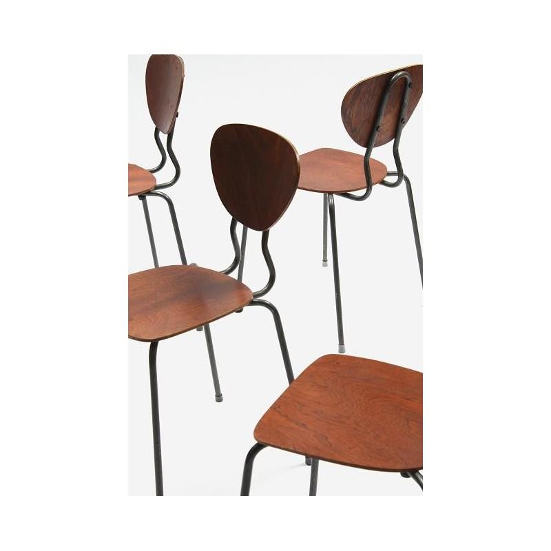 Set van 4 Deense industriele school stoelen