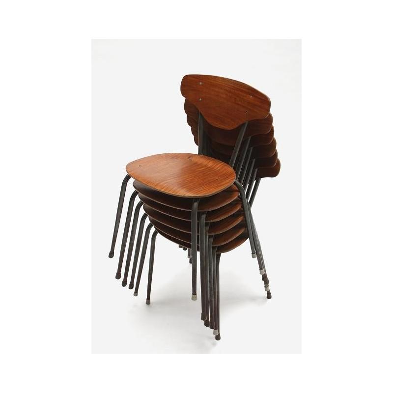 Industrial school chair in teak
