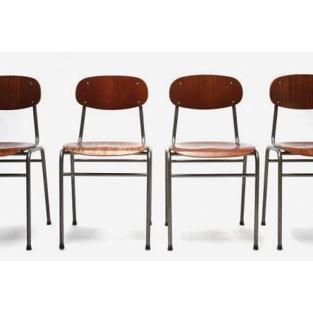 Set van 4 industriele Deense schoolstoelen