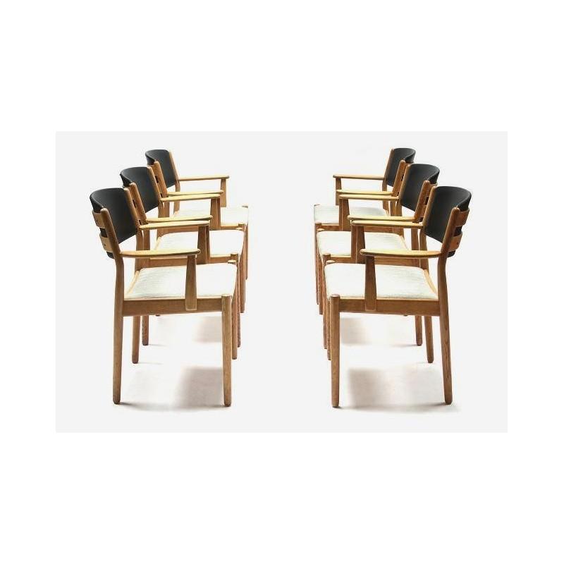 Set van 6 stoelen in eiken van Poul Volther