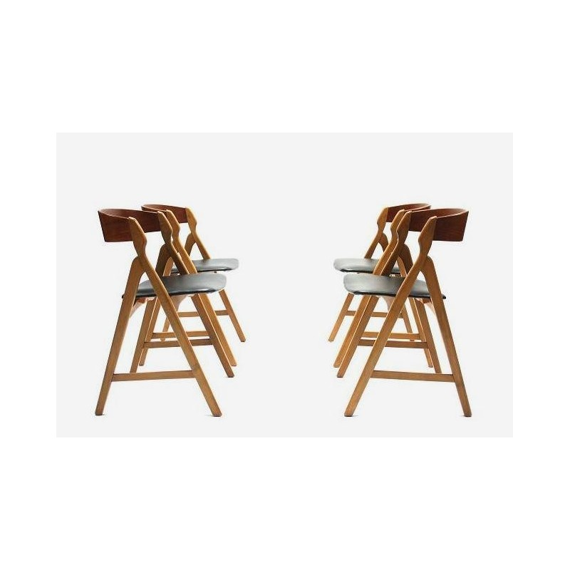 Set of 4 Danish chairs by H. Kjaernulf