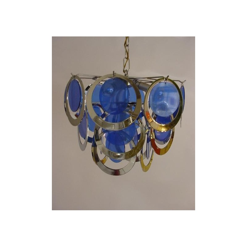 Retro hanging lamp with blue 1960's
