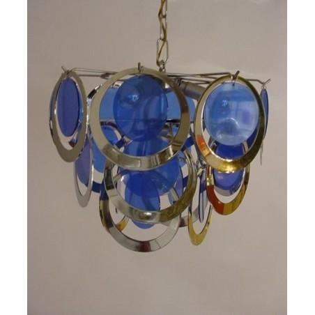 Retro hanglamp met blauw 1960's