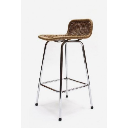 Stool with wicker seat