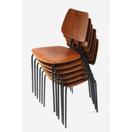 Set of 6 plywood chairs