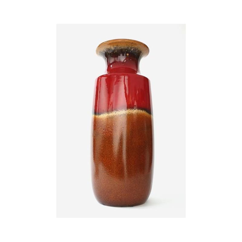 Grote West-Germany vaas bruin met rood